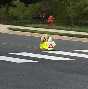 Crosswalk bollard damaged by vehicles