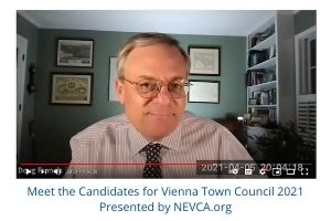 Doug Francis interviews candidates for the Vienna VA Town Council April 5, 2021
